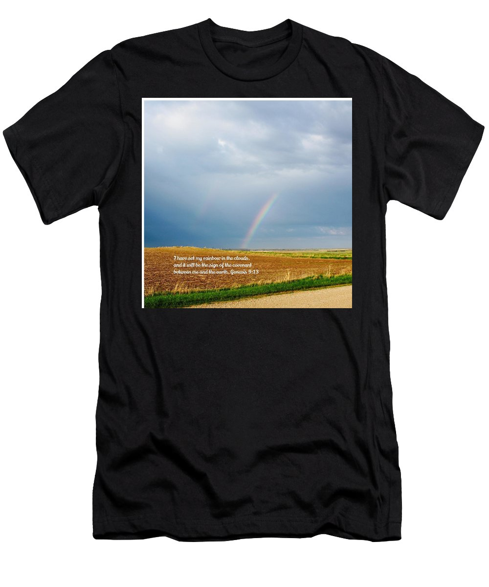 Rainbow Men's T-Shirt (Athletic Fit) featuring the photograph Rainbow Promise by Gwen Thielges