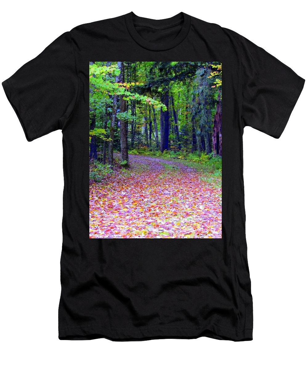 Leaves Men's T-Shirt (Athletic Fit) featuring the photograph Rainbow Road by Elizabeth Dow