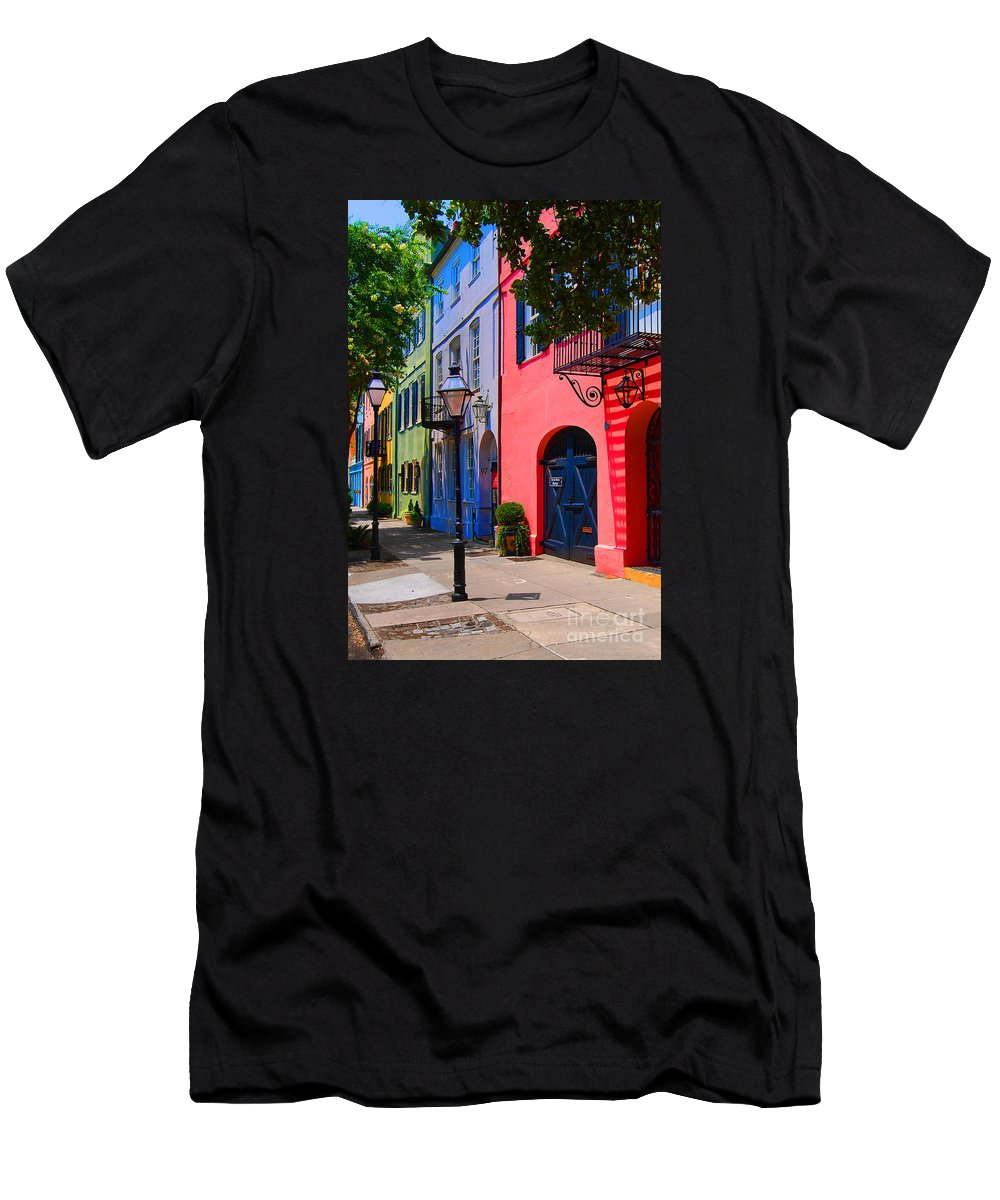 Scenic Tours Men's T-Shirt (Athletic Fit) featuring the photograph Rainbow Row Charleston by Skip Willits