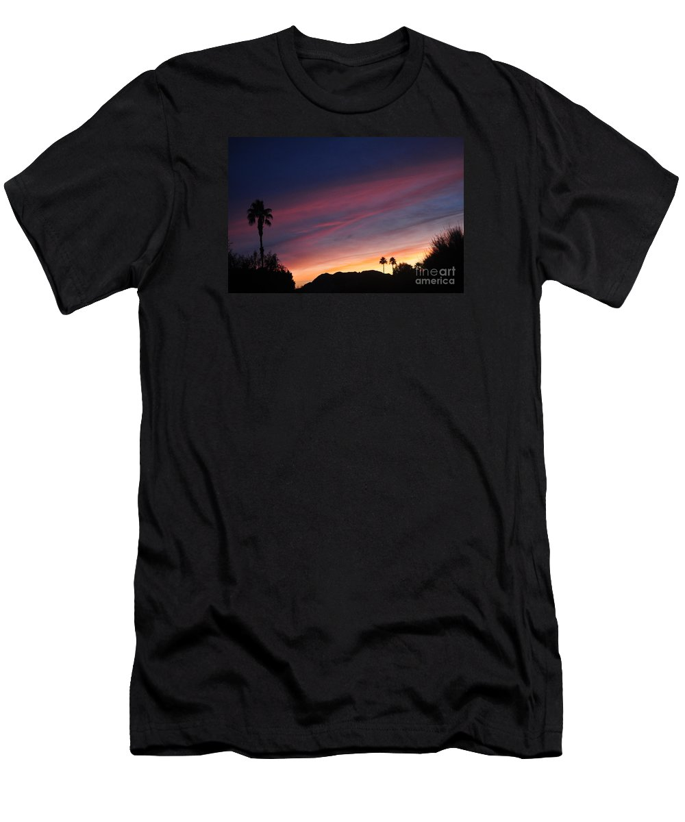 Landscape Men's T-Shirt (Athletic Fit) featuring the photograph Rainbow Sky by Jay Milo