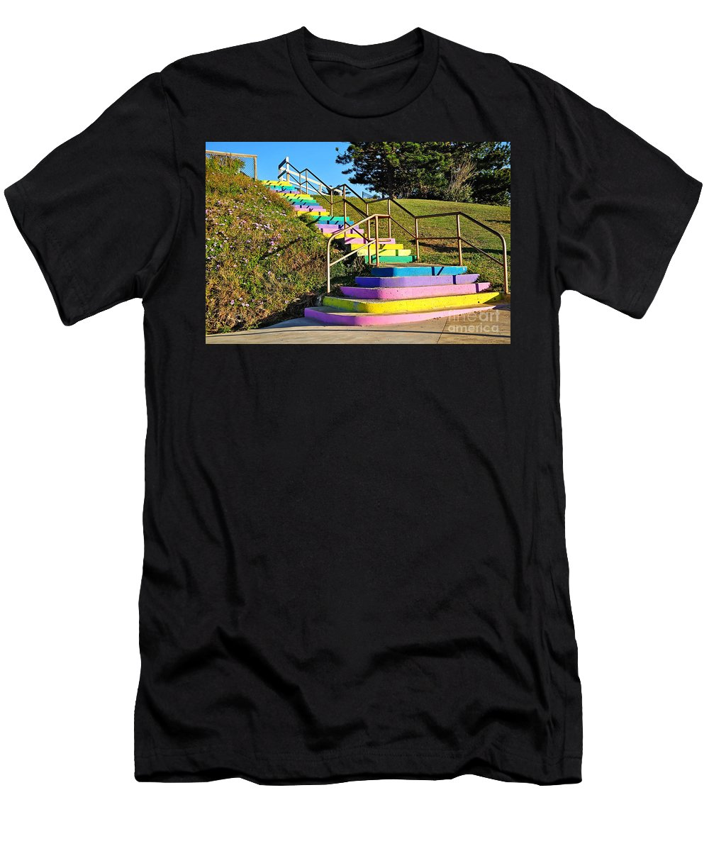 Photography Men's T-Shirt (Athletic Fit) featuring the photograph Rainbow Steps by Kaye Menner