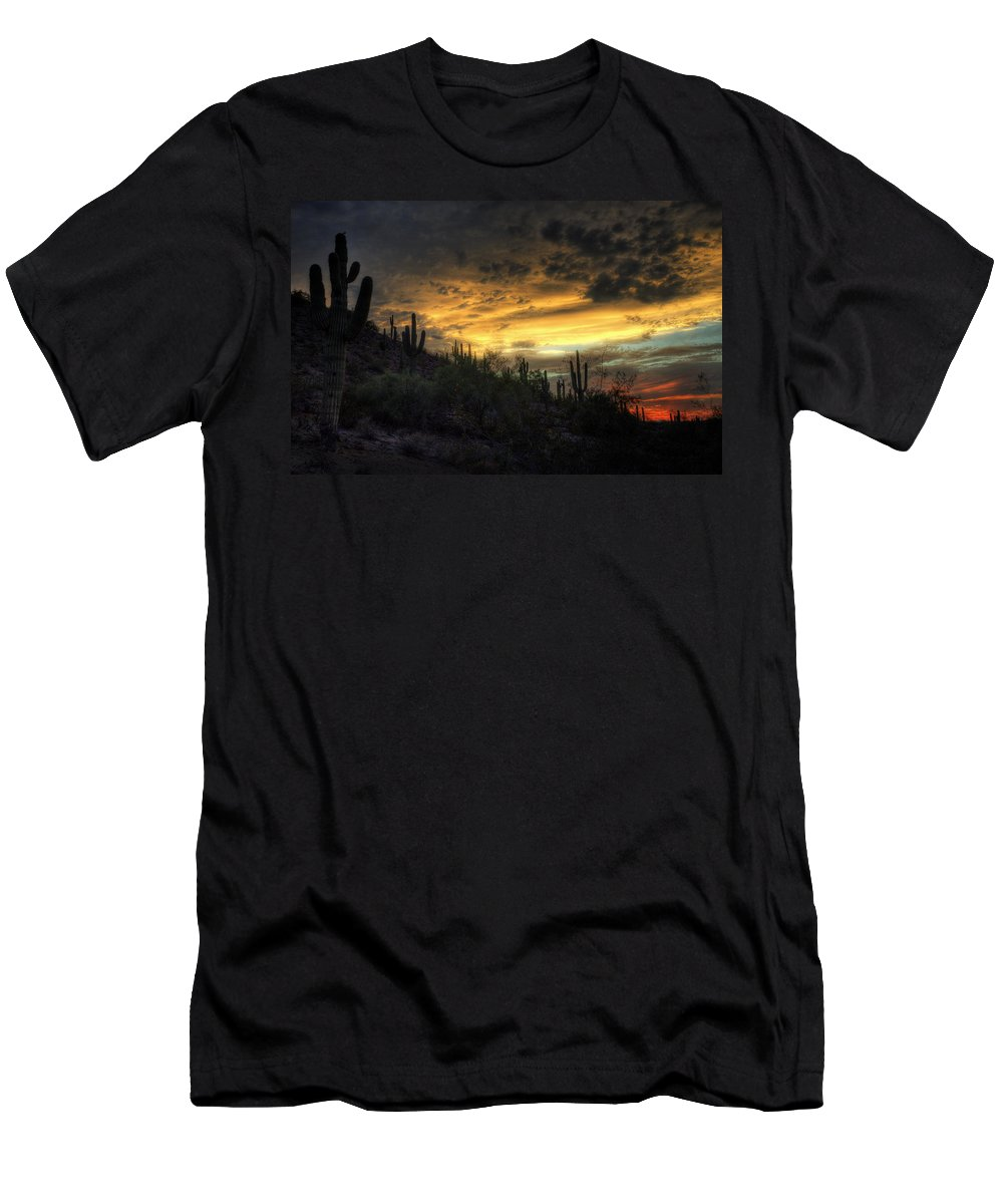 Sunset Men's T-Shirt (Athletic Fit) featuring the photograph Rainbow Sunset by Saija Lehtonen
