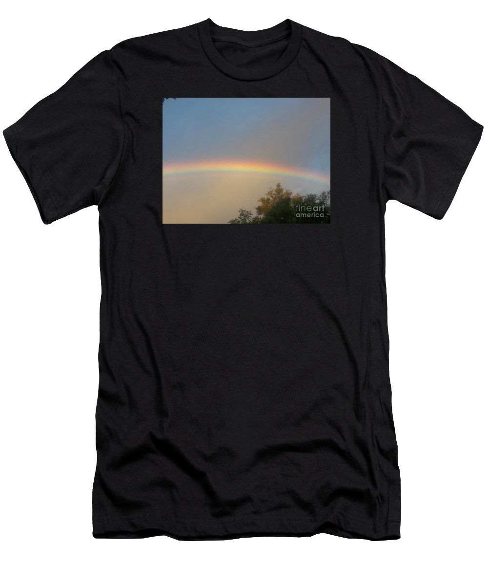 Men's T-Shirt (Athletic Fit) featuring the photograph Rainbow Too Perfect To Touch by Jessica Flieg