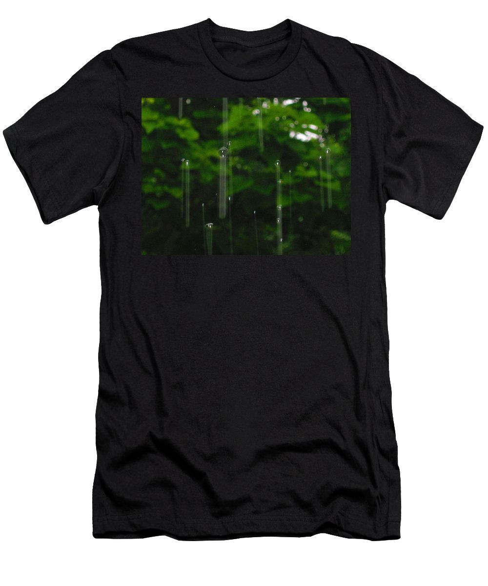 Rain Men's T-Shirt (Athletic Fit) featuring the photograph Raindrops by Samantha Storment