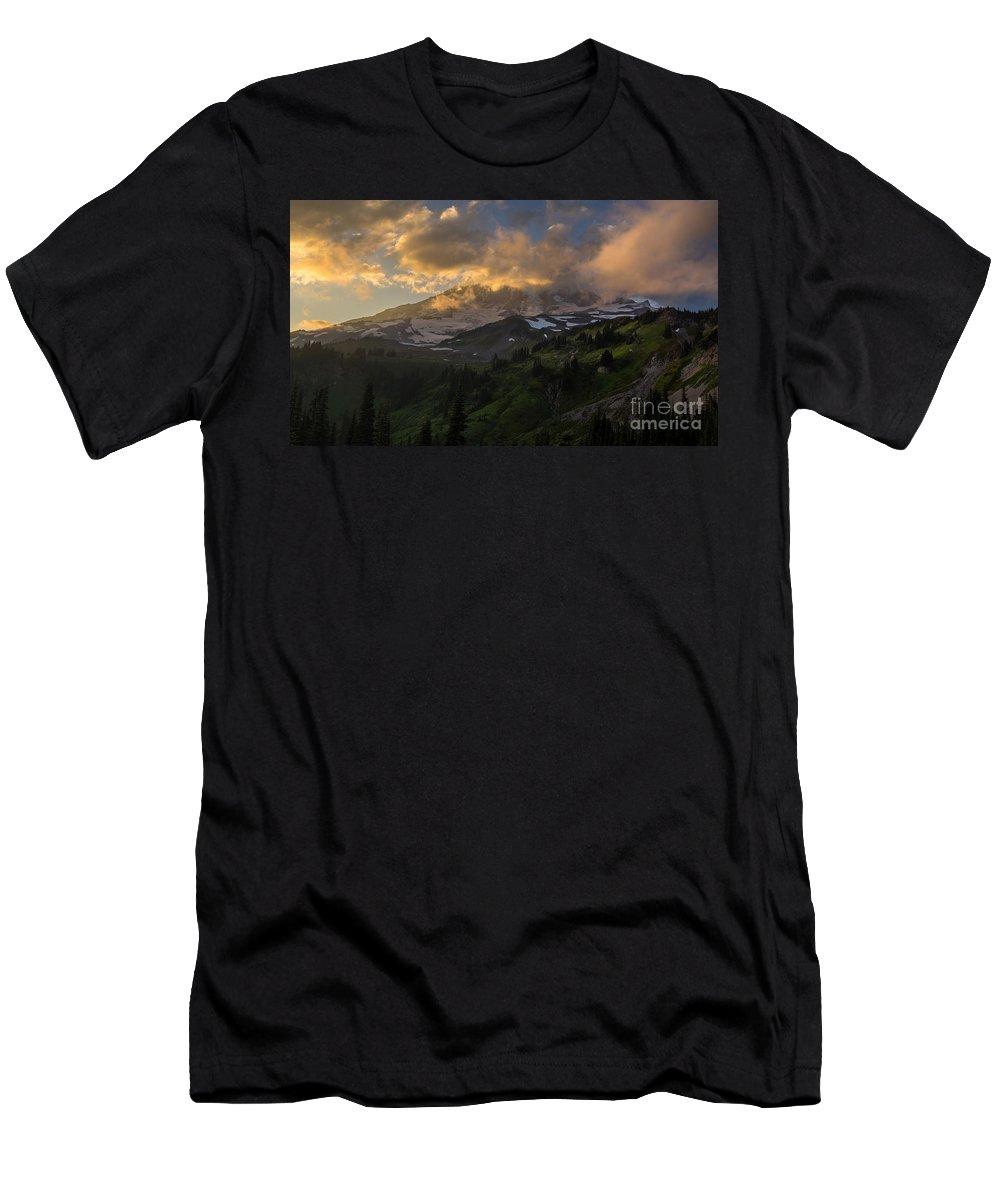 Rainier Men's T-Shirt (Athletic Fit) featuring the photograph Rainier Evening Skies Drama by Mike Reid
