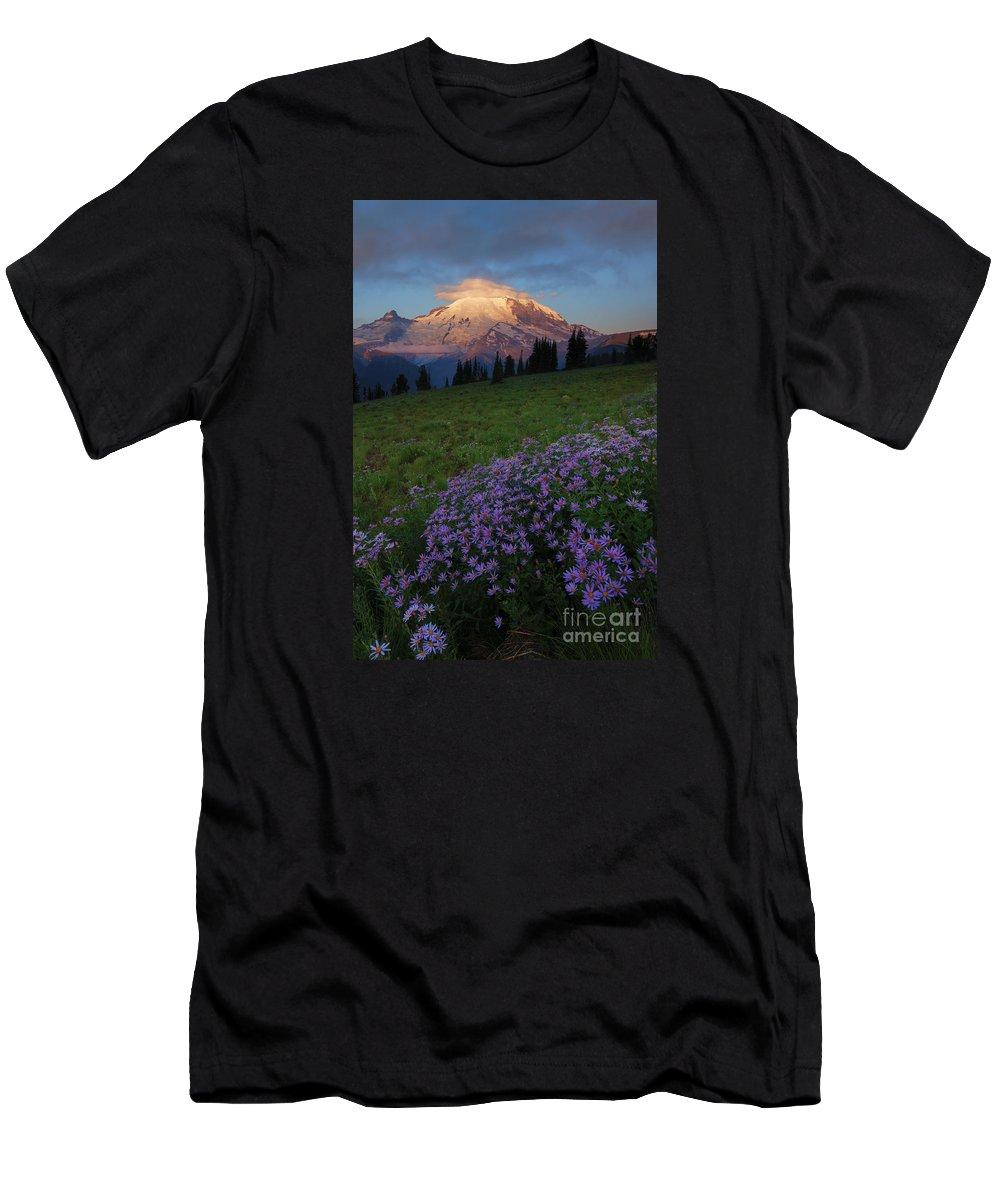 Rainier T-Shirt featuring the photograph Rainier Morning Cap by Mike Dawson