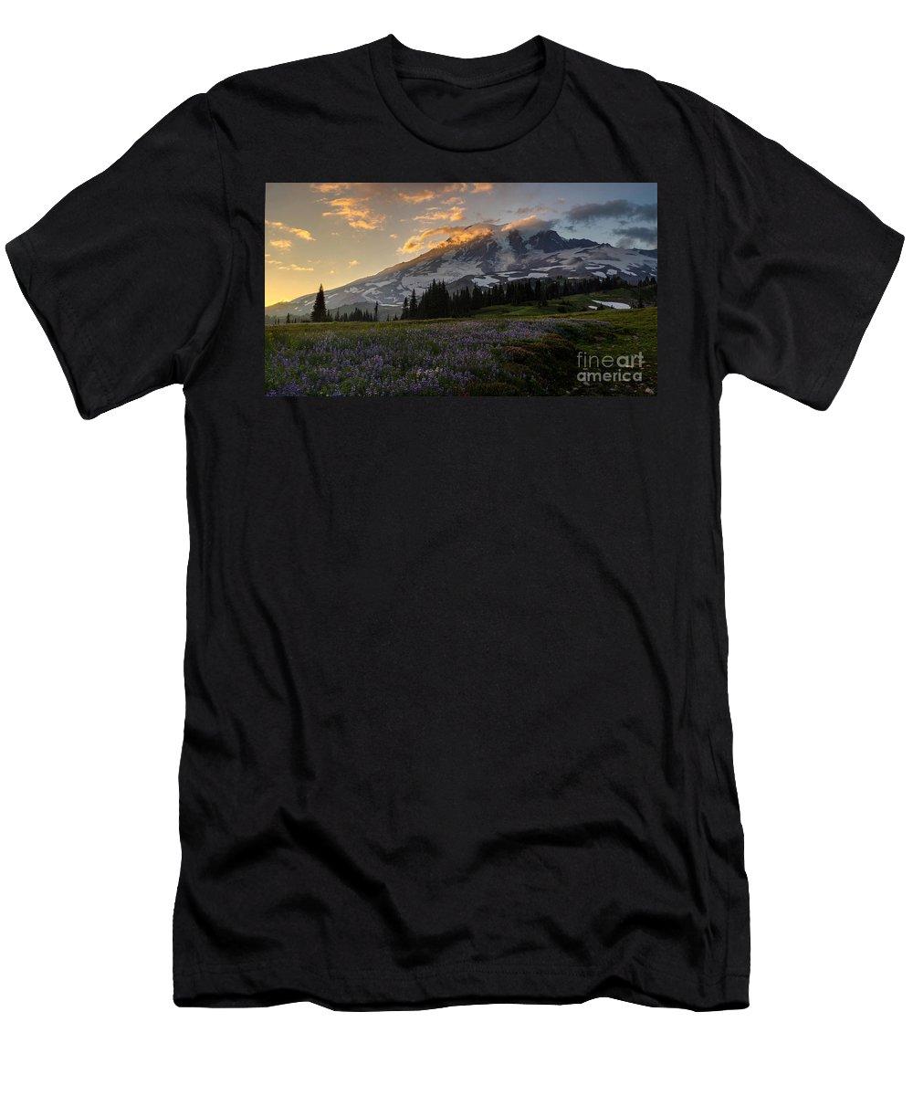 Rainier Men's T-Shirt (Athletic Fit) featuring the photograph Rainier Purple Lupine Carpet by Mike Reid