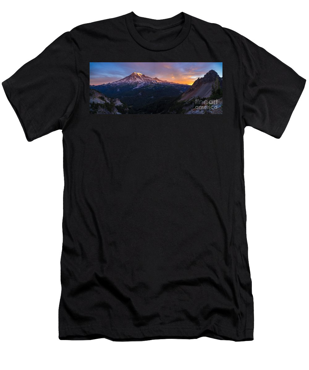 Rainier Men's T-Shirt (Athletic Fit) featuring the photograph Rainier Soaring Skies by Mike Reid
