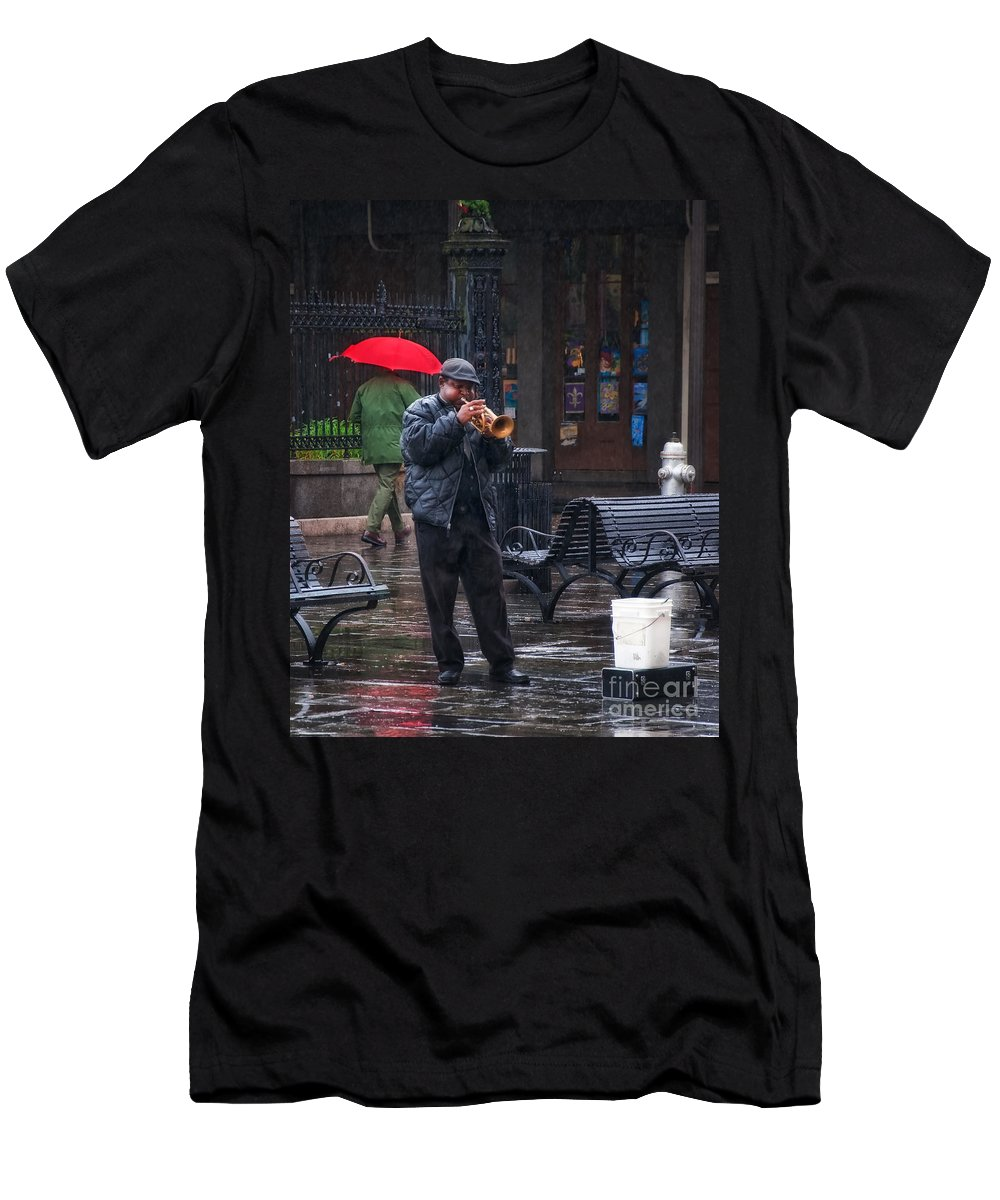 Music Men's T-Shirt (Athletic Fit) featuring the photograph Rainy Day Blues New Orleans by Kathleen K Parker