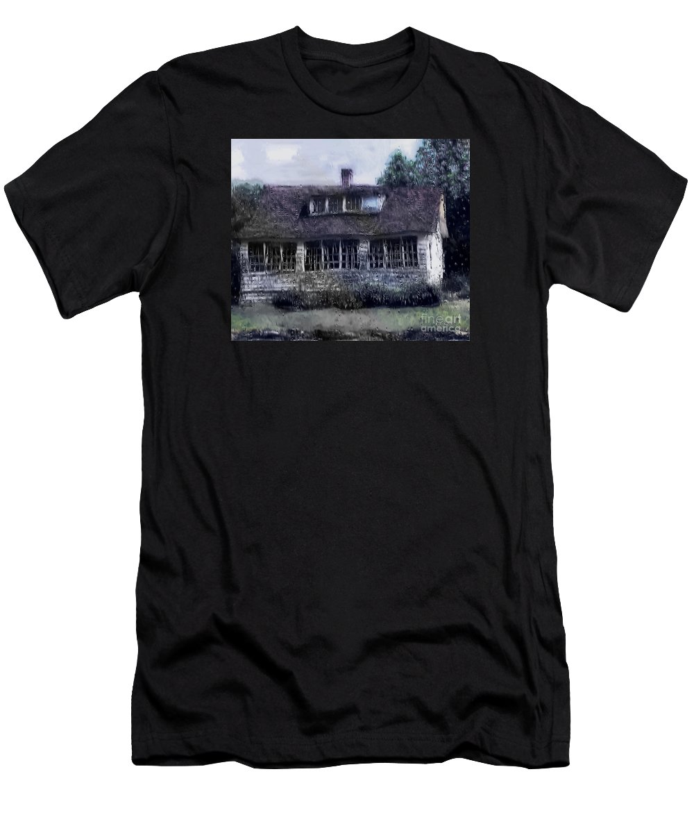 House Men's T-Shirt (Athletic Fit) featuring the painting Rainy Day Long Ago House by RC DeWinter