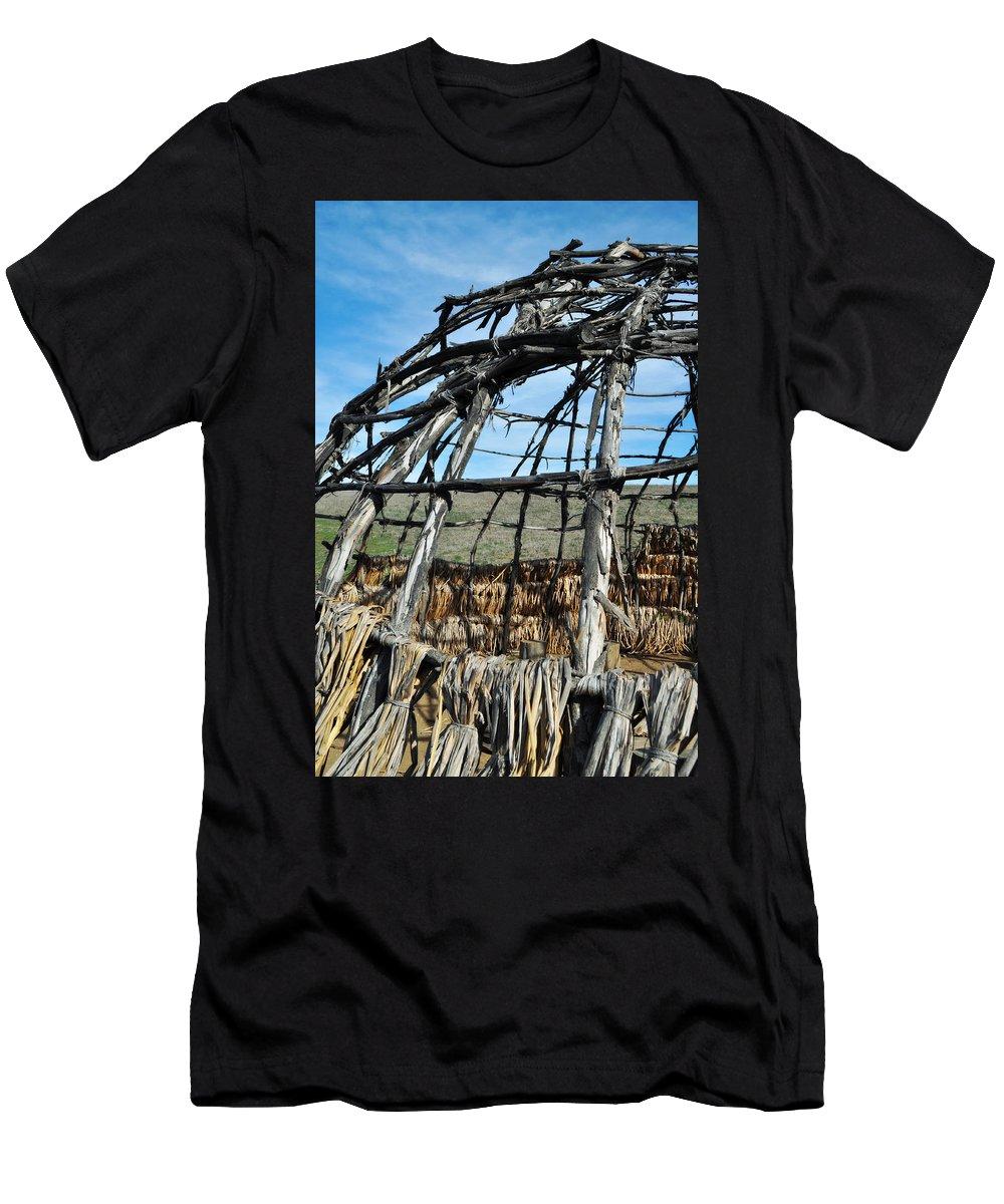 Santa Monica Mountains Men's T-Shirt (Athletic Fit) featuring the photograph Rancho Sierra Vista Satwiwa Chumash Ap Home by Kyle Hanson