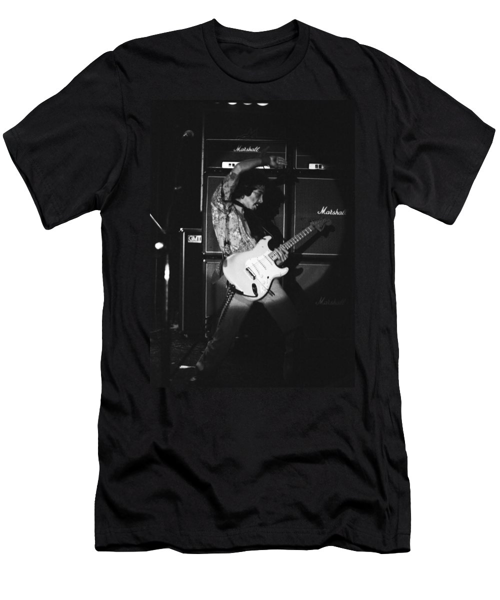 Randy Hansen Men's T-Shirt (Athletic Fit) featuring the photograph Randy Hansen Playing For Jimi 1978 by Ben Upham