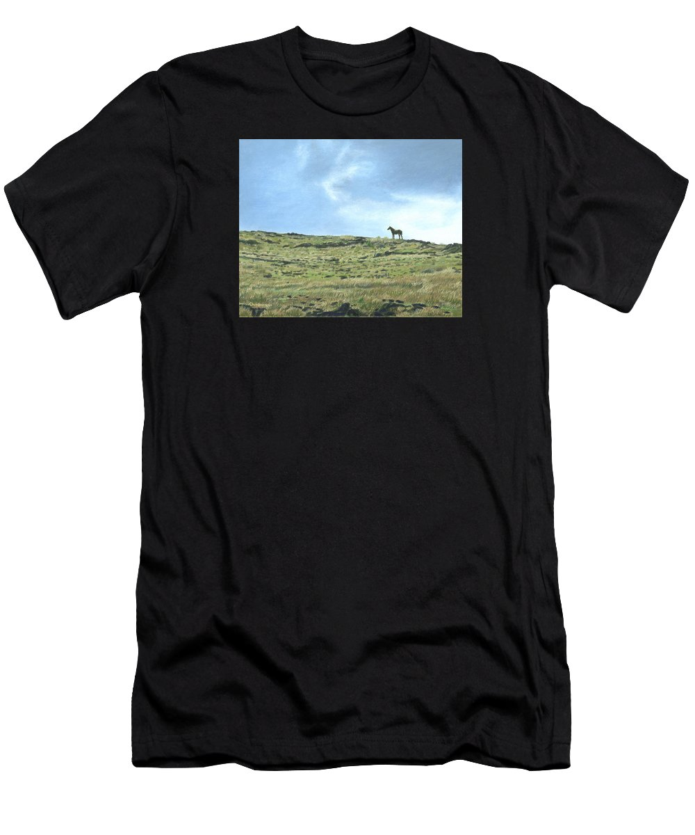Easter Island Men's T-Shirt (Athletic Fit) featuring the painting Rapa Nui Horse by Brent Charbonneau