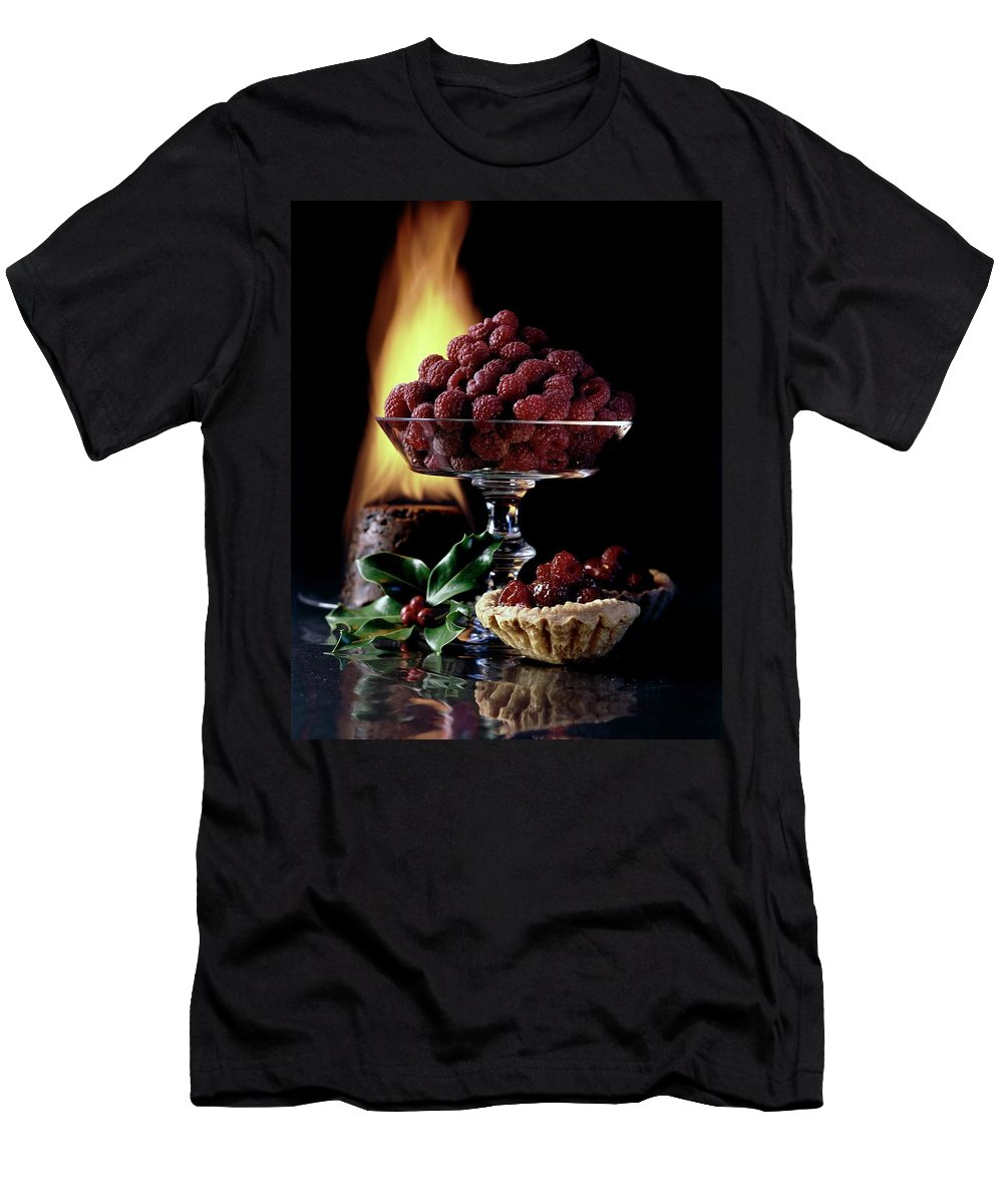 Food Men's T-Shirt (Athletic Fit) featuring the photograph Raspberries In A Glass Serving Dish With Tarts by Fotiades