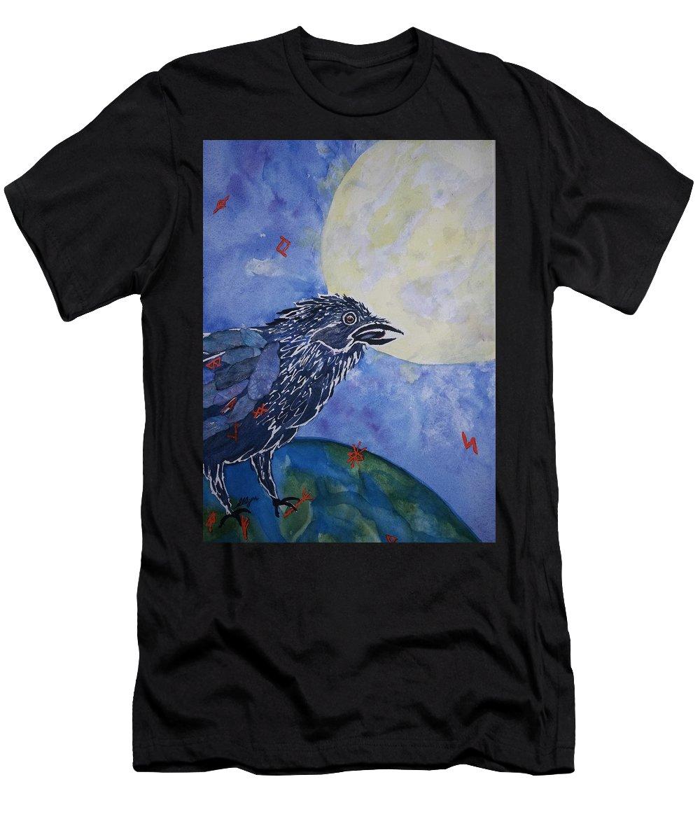 Raven.full Moon Men's T-Shirt (Athletic Fit) featuring the painting Raven Speak by Ellen Levinson