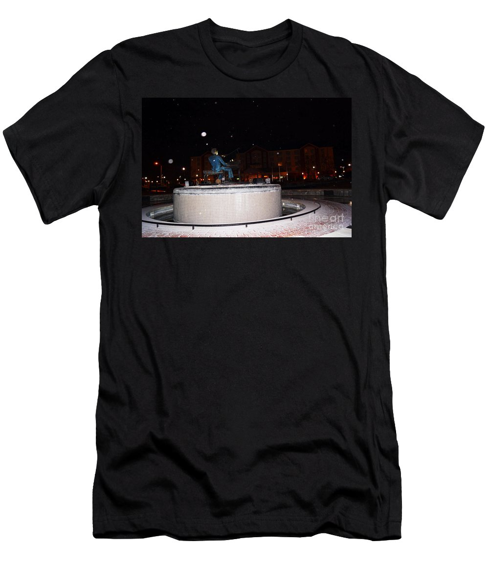 Ray Charles Men's T-Shirt (Athletic Fit) featuring the photograph Ray Charles Statue In A Odd Weather Event by Kim Pate