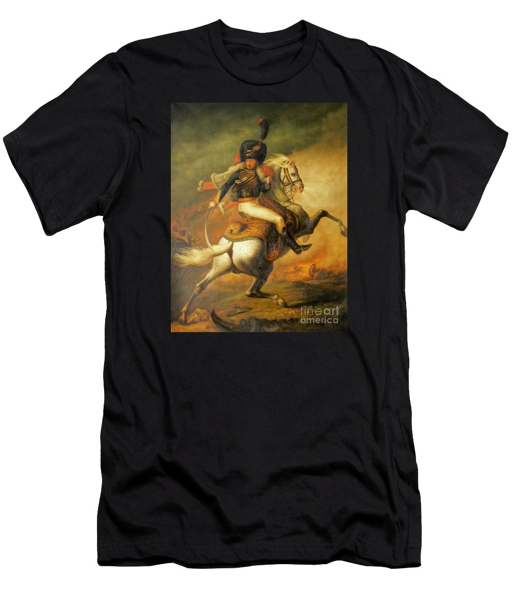 Art Men's T-Shirt (Athletic Fit) featuring the painting Re Classic Oil Painting General On Canvas#16-2-5-08 by Hongtao Huang