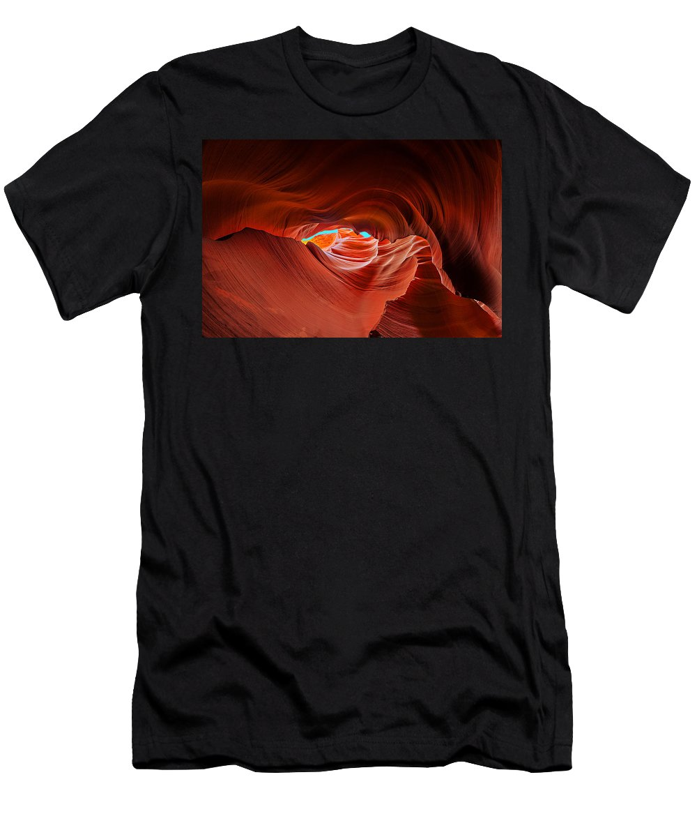 Antelope Canyon Men's T-Shirt (Athletic Fit) featuring the photograph Reach For The Sky by Jason Chu
