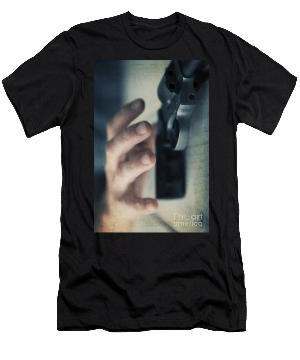 Angle Men's T-Shirt (Athletic Fit) featuring the photograph Reaching For A Gun by Edward Fielding