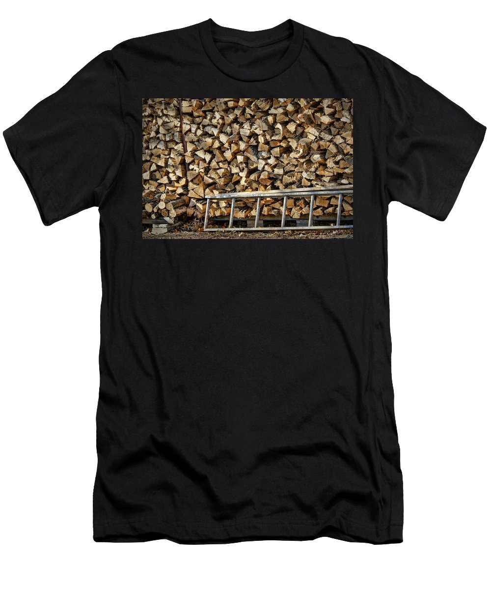 Firewood Men's T-Shirt (Athletic Fit) featuring the photograph Ready For Winter #1 by Nikolyn McDonald