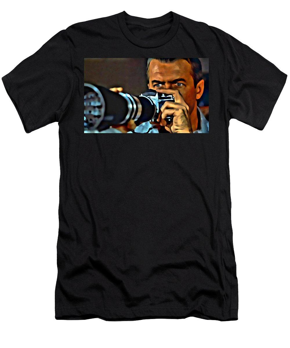 Rear Window Men's T-Shirt (Athletic Fit) featuring the painting Rear Window by Florian Rodarte