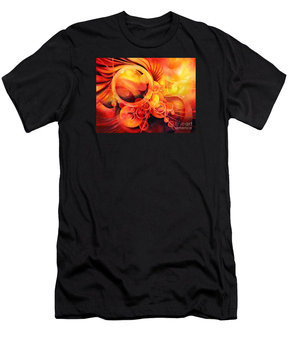 Watercolor Men's T-Shirt (Athletic Fit) featuring the painting Rebirth - Phoenix by Hailey E Herrera