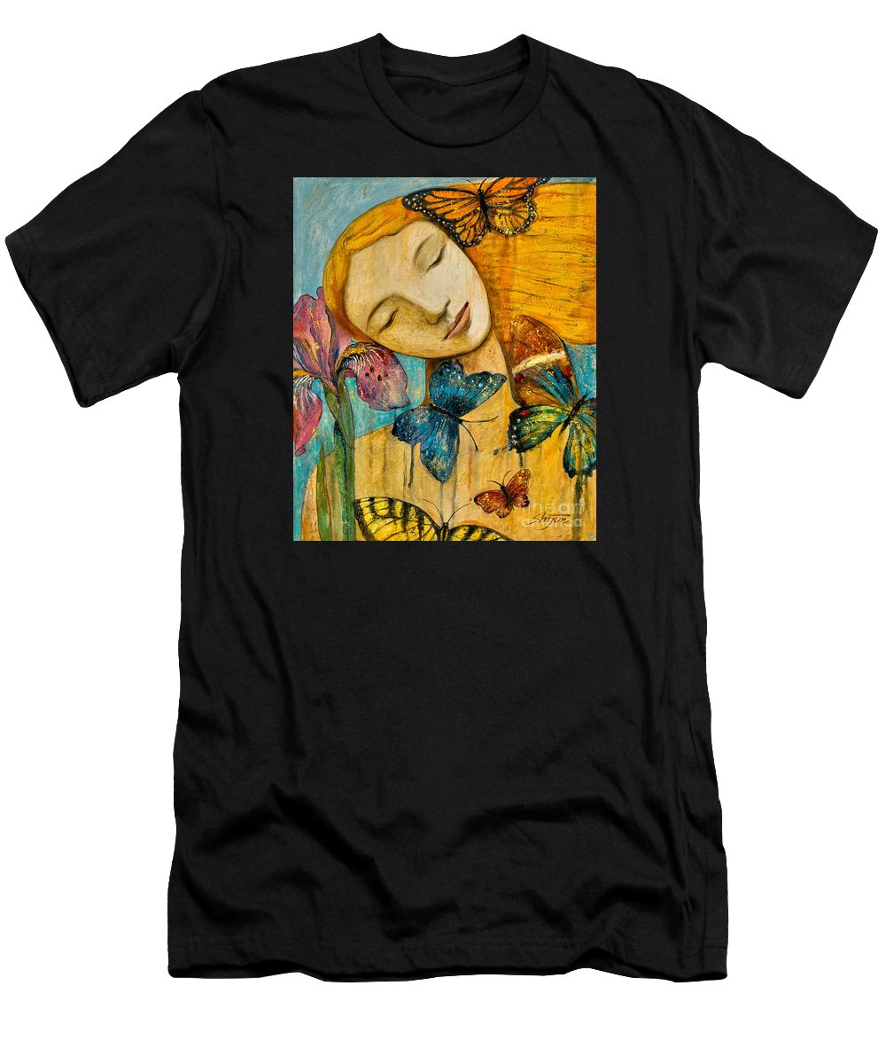 Shijun Men's T-Shirt (Athletic Fit) featuring the painting Rebirth by Shijun Munns