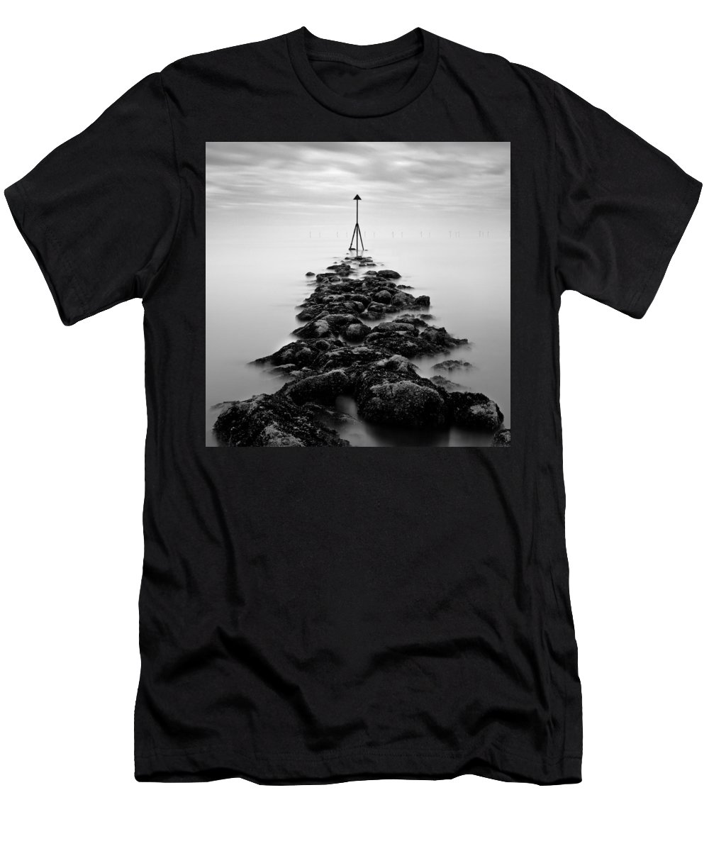 Ocean Marker Men's T-Shirt (Athletic Fit) featuring the photograph Receding Tide by Dave Bowman