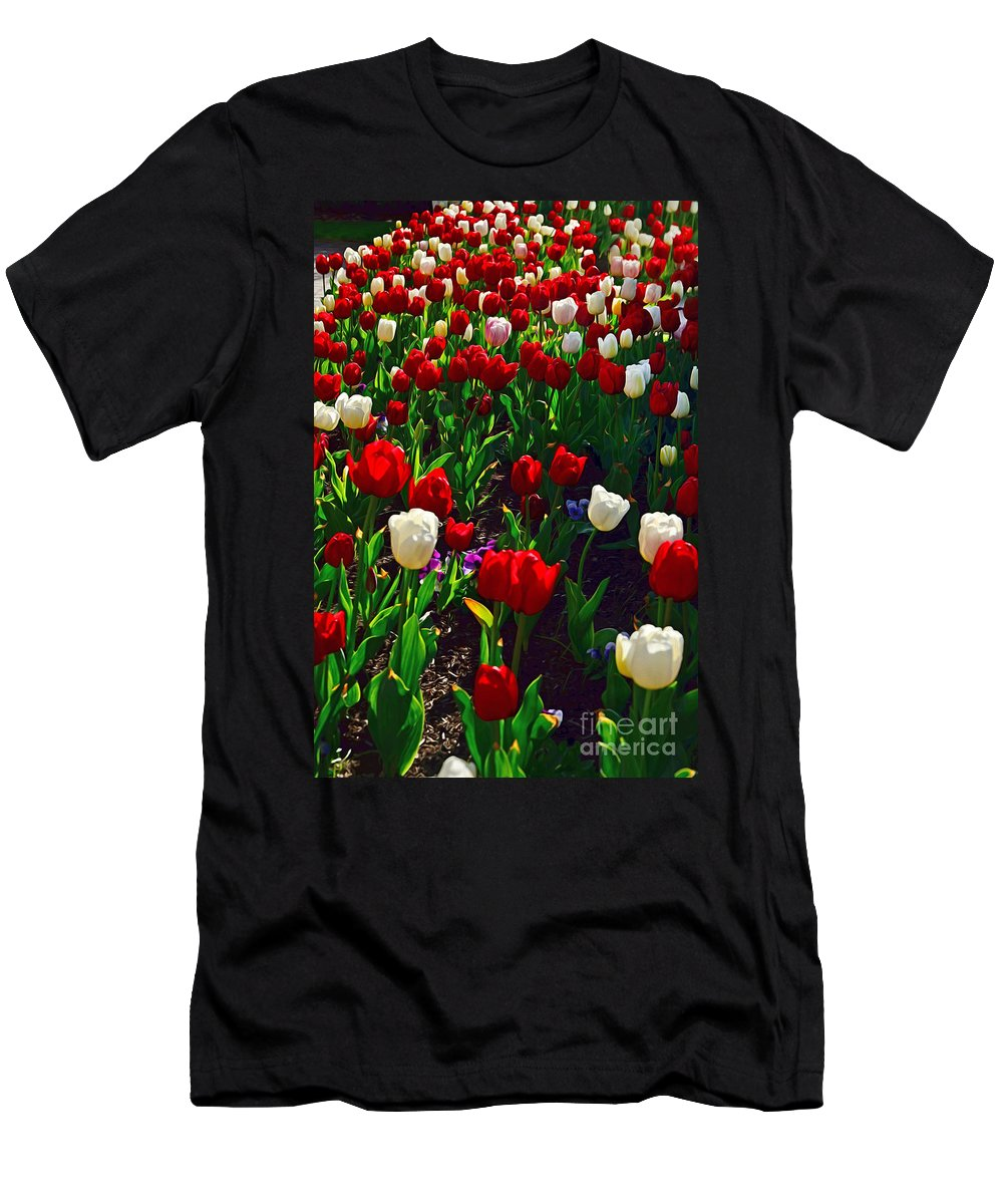 Photography Men's T-Shirt (Athletic Fit) featuring the photograph Red And White Tulip Art by Kaye Menner