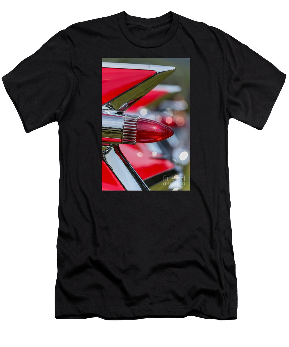 Automobile Men's T-Shirt (Athletic Fit) featuring the photograph Red Cadillac Fins by Edward Fielding