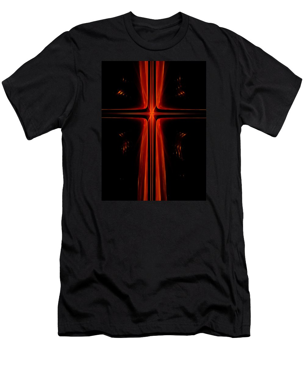 Christian Men's T-Shirt (Athletic Fit) featuring the digital art Red Christian Cross by Timothy Johnson