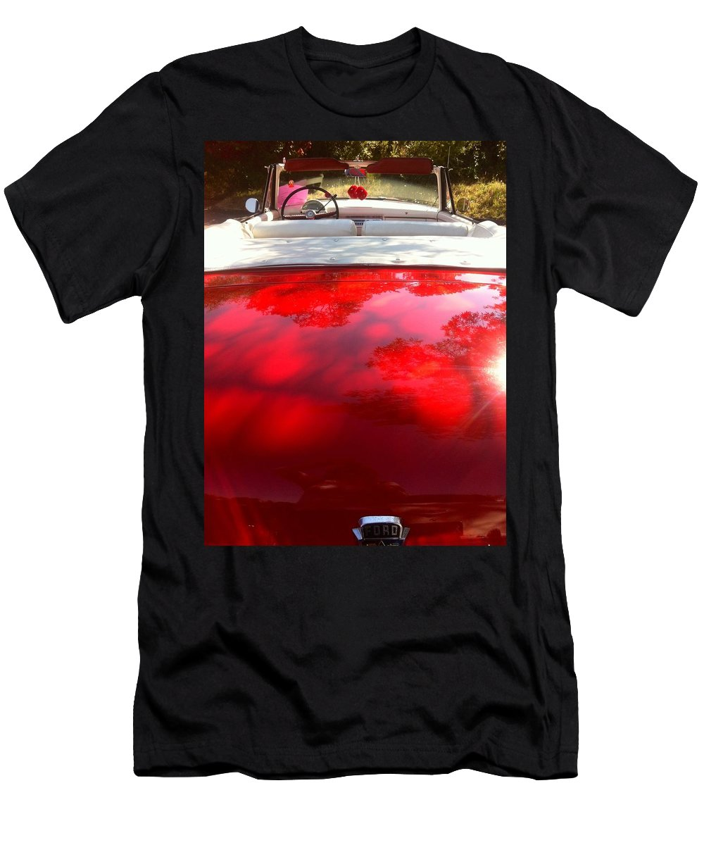 Red Classic Car Convertible Men's T-Shirt (Athletic Fit) featuring the photograph Red Convertible by Susan Garren