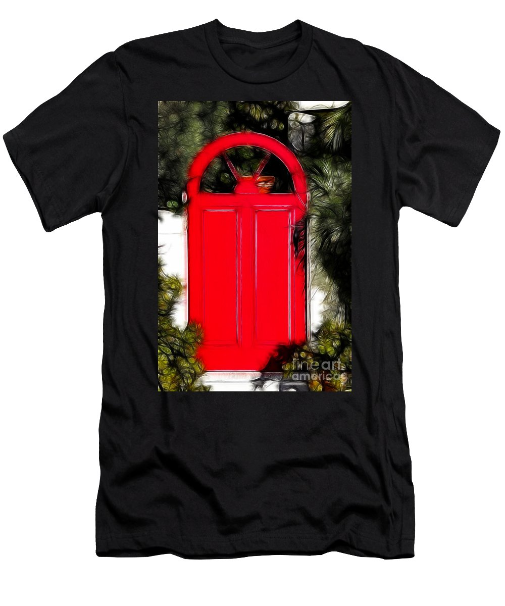 Red Door Men's T-Shirt (Athletic Fit) featuring the photograph Red Door by Mariola Bitner