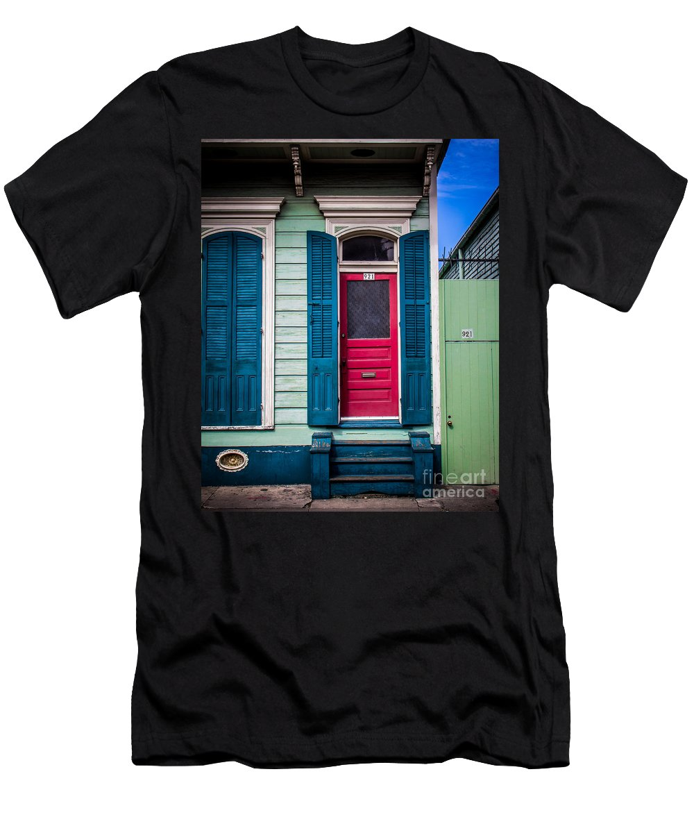 New Orleans Men's T-Shirt (Athletic Fit) featuring the photograph Red Doored House by Perry Webster