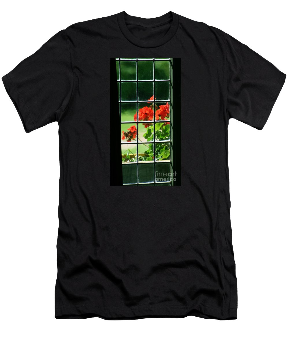Plants Men's T-Shirt (Athletic Fit) featuring the photograph Red Geranium Through Leaded Window by Art MacKay