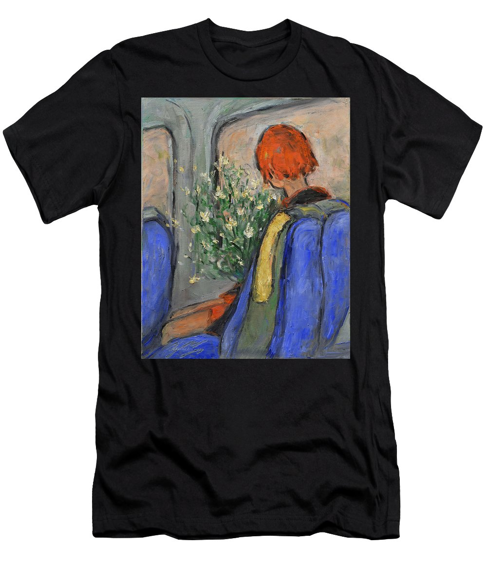 Red-haired Men's T-Shirt (Athletic Fit) featuring the painting Red-haired Girl On A Sydney Train by Xueling Zou
