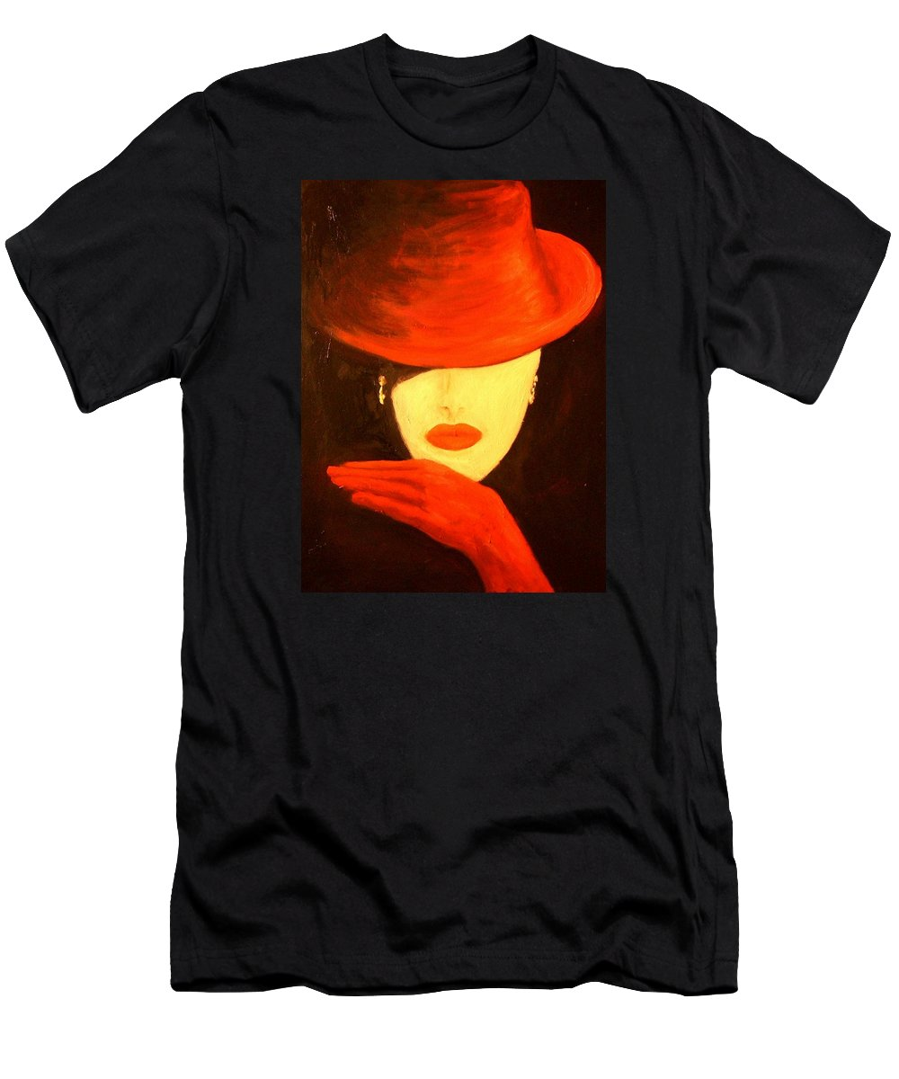 Red Men's T-Shirt (Athletic Fit) featuring the painting Red Hat by Birgit Schnapp