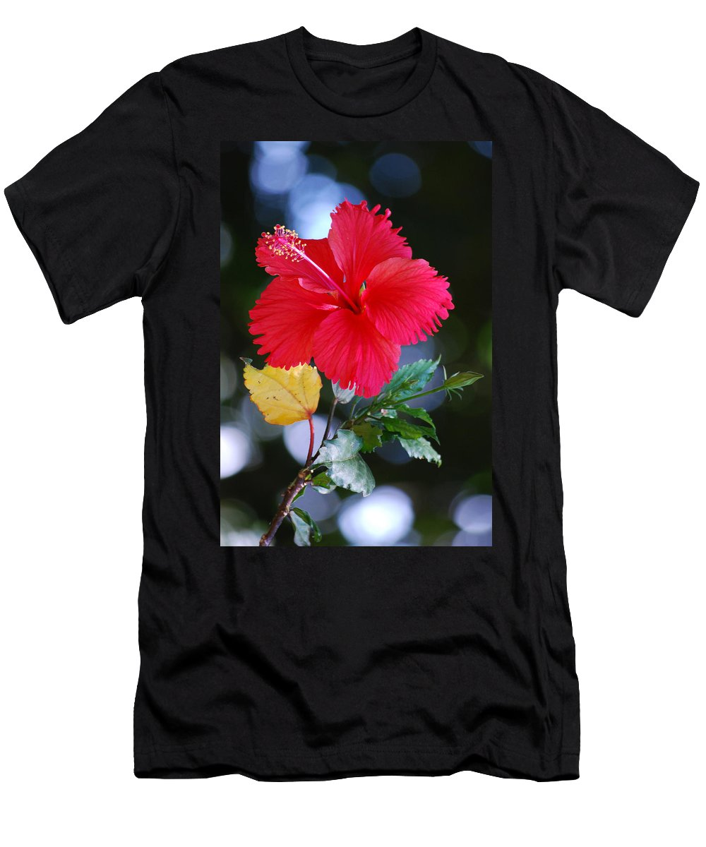 Red Men's T-Shirt (Athletic Fit) featuring the photograph Red Hibiscus Flower by Michelle Wrighton