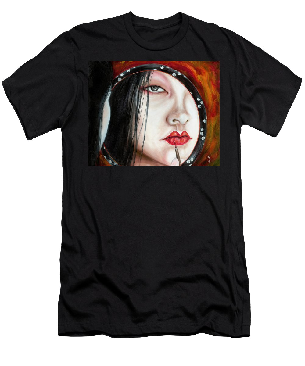Japanese Woman Men's T-Shirt (Athletic Fit) featuring the painting Red by Hiroko Sakai