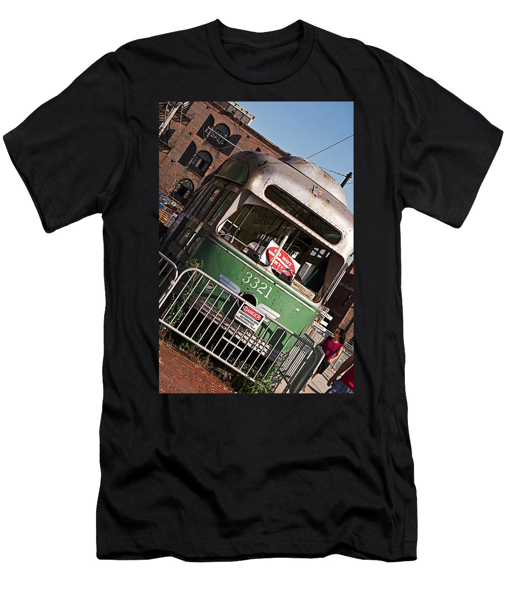 Vintage Buses Men's T-Shirt (Athletic Fit) featuring the photograph Red Hook 3321 by Rosie McCobb