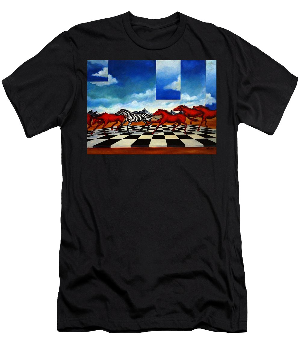 Surreal Landscape Men's T-Shirt (Athletic Fit) featuring the painting Red Horses With Zebra by Valerie Vescovi