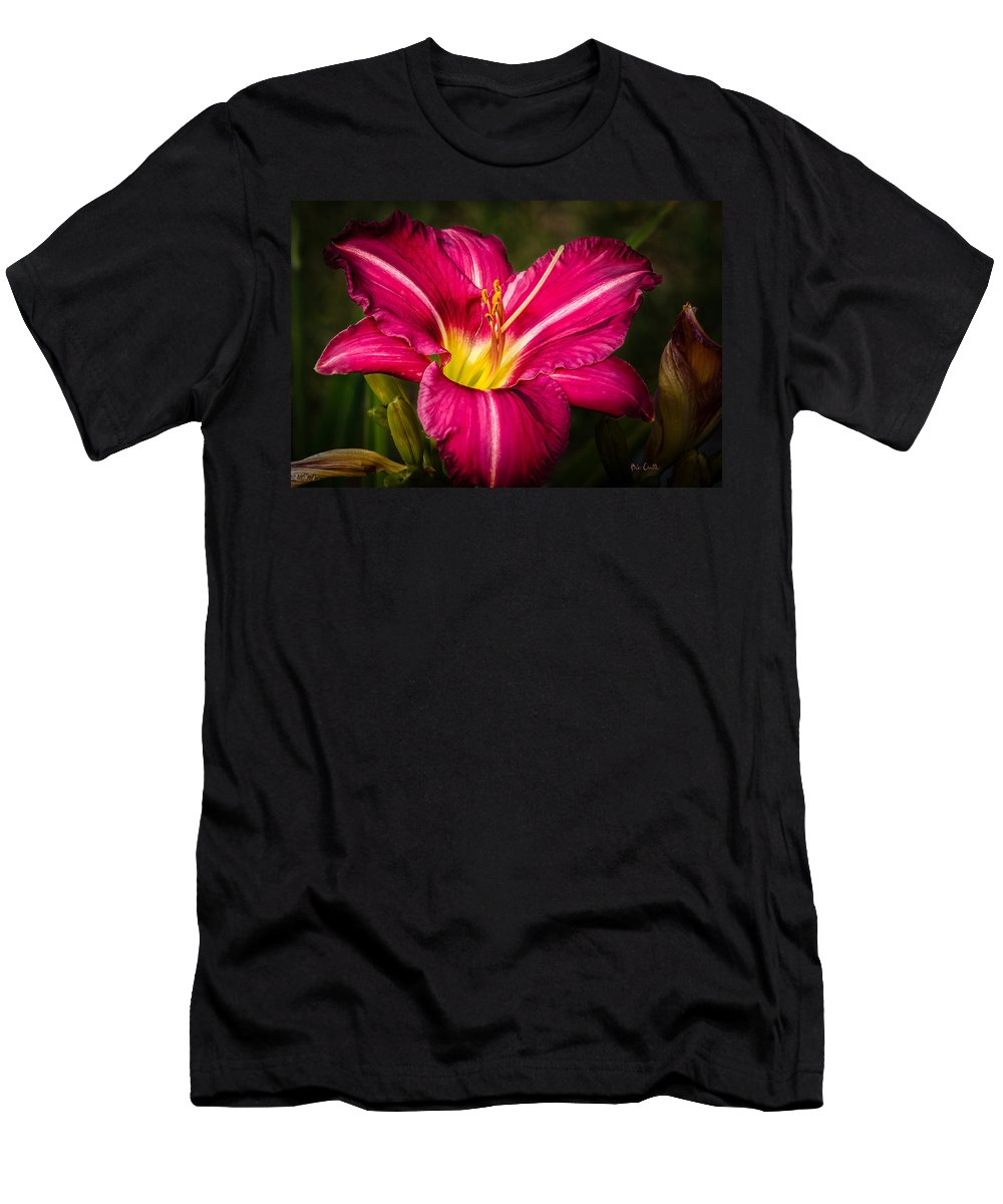 Flower Men's T-Shirt (Athletic Fit) featuring the photograph Red Magic Daylily by Bob Orsillo