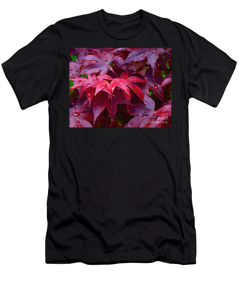 Rain Men's T-Shirt (Athletic Fit) featuring the photograph Red Maple After Rain by Ann Horn