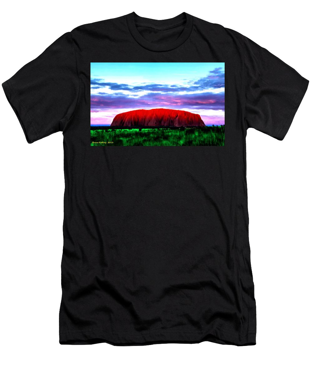Mountain Men's T-Shirt (Athletic Fit) featuring the painting Red Mountain Sunset by Bruce Nutting