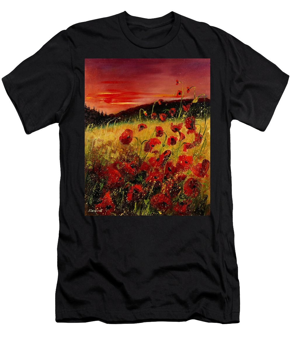Poppies Men's T-Shirt (Athletic Fit) featuring the painting Red Poppies And Sunset by Pol Ledent