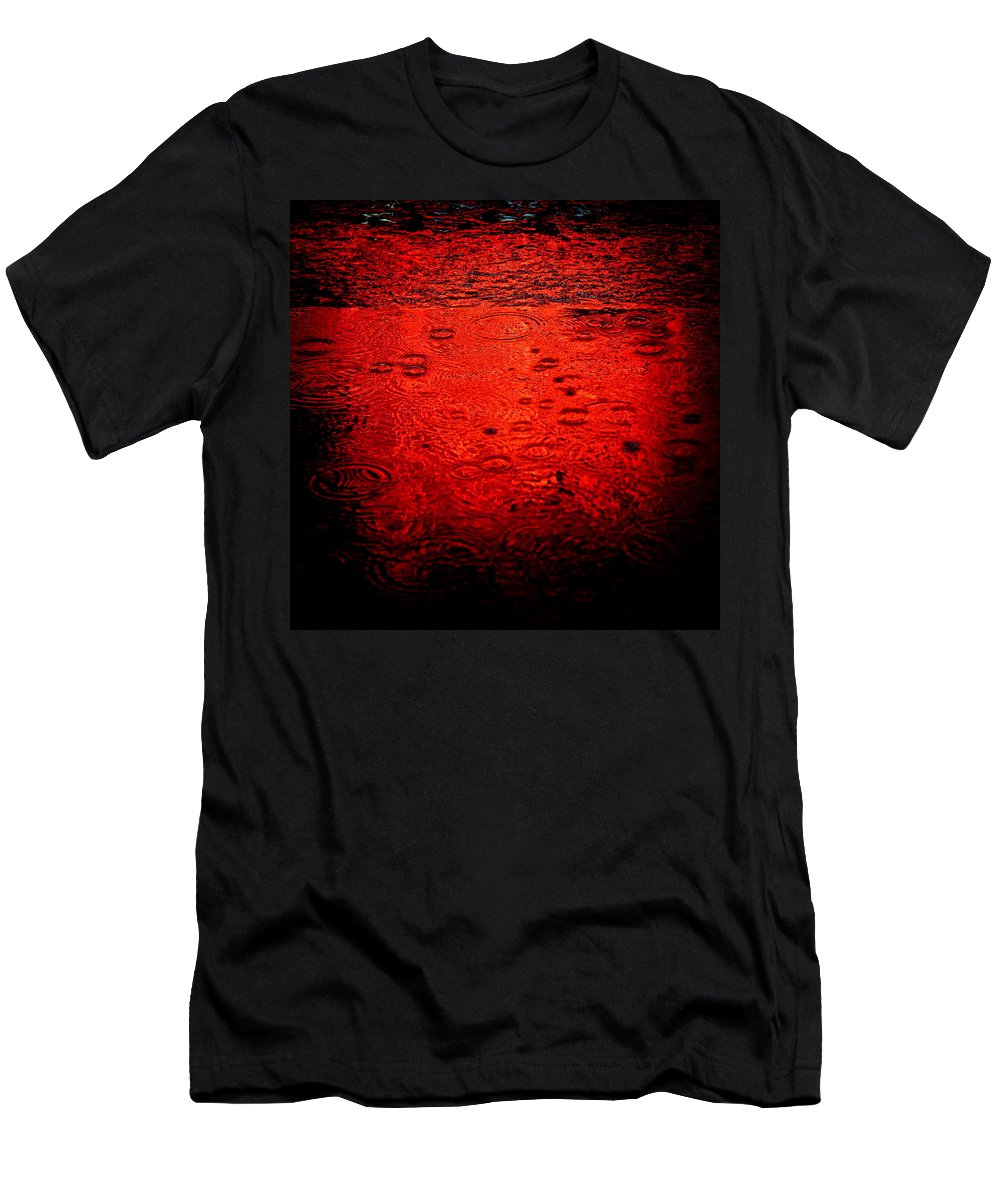 Raindrops Men's T-Shirt (Athletic Fit) featuring the photograph Red Rain by Dave Bowman