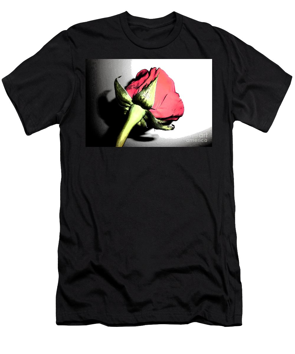 Rose Men's T-Shirt (Athletic Fit) featuring the photograph Red Red Rose by Minding My Visions by Adri and Ray