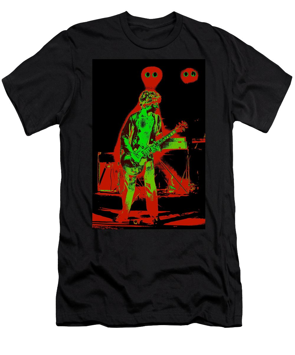 Sammy Hagar Men's T-Shirt (Athletic Fit) featuring the photograph Red Rocker In Spokane In 1977 With Space Friends by Ben Upham