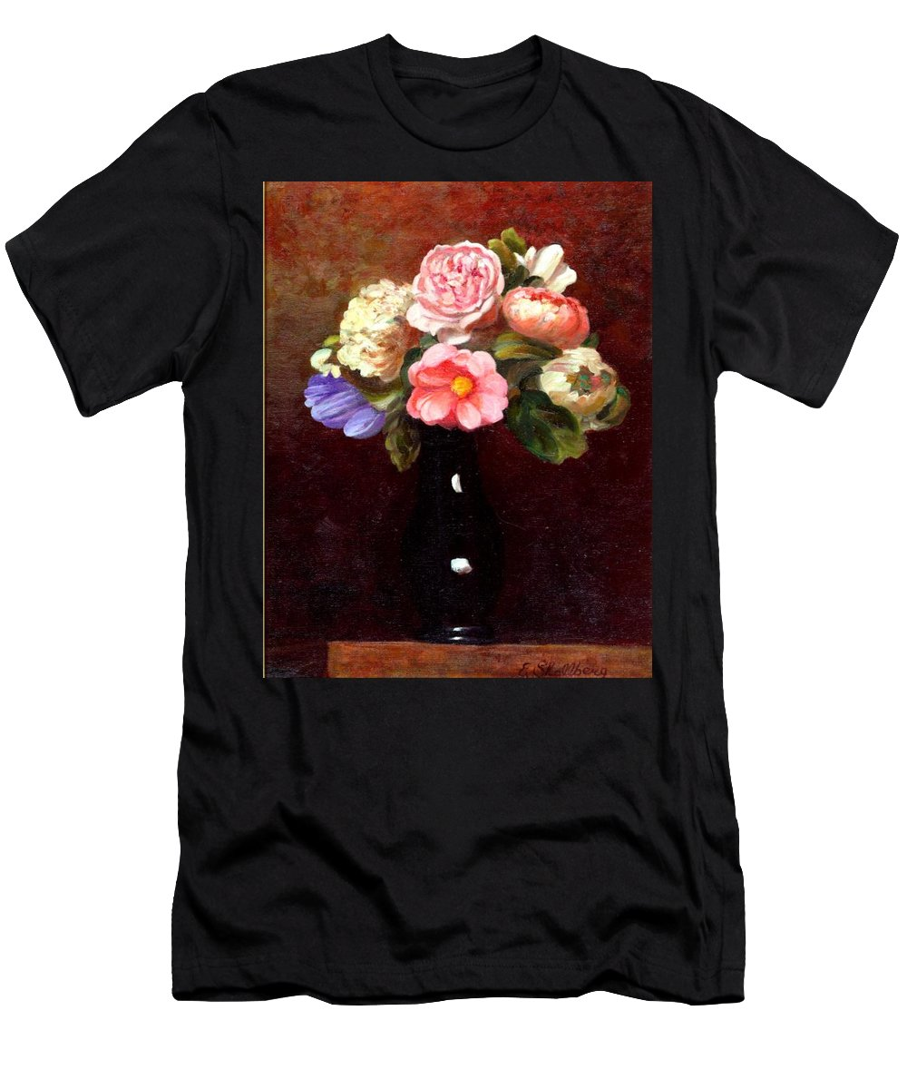 Still Life Men's T-Shirt (Athletic Fit) featuring the painting Red Roses In A Black Vase by Edward Skallberg