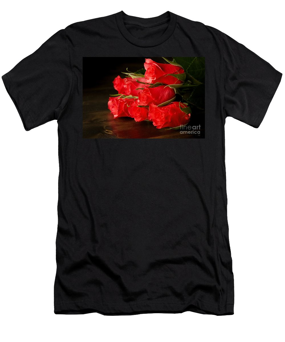 Flower Men's T-Shirt (Athletic Fit) featuring the photograph Red Roses On Wood Floor by Simon Bratt Photography LRPS